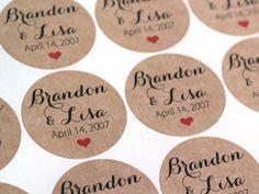 "2"" Custom Wedding Stickers - Brown Kraft Name & Date Labels - Calligraphy Script - Invitation Seals - Wedding Favors - Mason Jar Labels"