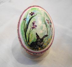 Modern Pysanky Chicken Egg with red quilt border by JustCindyArt