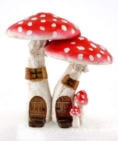 Another great find on #zulily! Red Mushroom Fairy Houses Décor #zulilyfinds