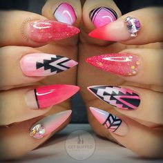 Pink Stiletto Aztec Nails