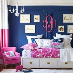 Toddler bedroom decor pink and navy