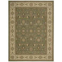 Nourison Persian Crown (PC001) Green Rectangle Area Rug, 5-Feet 3-Inches by 7-Feet 4-Inches (5'3' x 7'4') * See this great product. (This is an affiliate link) #SimpleHomeDecor