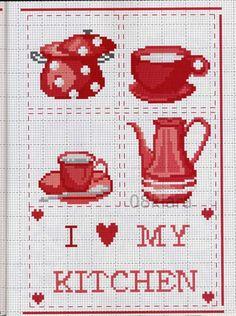 Cross Stitch Kitchen, Cross Stitch Books, Cross Stitch Love, Cross Stitch Fabric, Cross Stitch Borders, Cross Stitch Designs, Cross Stitching, Cross Stitch Embroidery, Cross Stitch Patterns