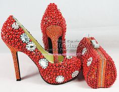 e0b99ed7aaabcf Elegant new designs sexy ultra high heels platform red wedding shoes with matching  crystal clutch bag
