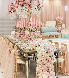 Pink n blue reception decor
