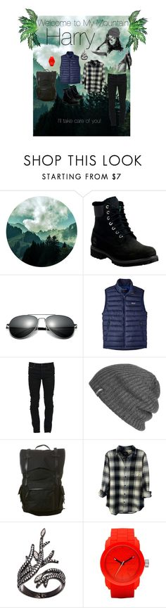 """Harry's on My Mountain"" by sharonvandoesburg ❤ liked on Polyvore featuring Timberland, Patagonia, Marcelo Burlon, Outdoor Research, Nixon, Rails, Lord & Taylor, Diesel, men's fashion and menswear"