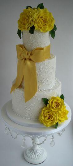 Golden Wedding Cake on Cake Central