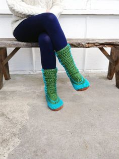 Crochet Slipper Boots with Leather Soles. For by MuffleUpSlippers