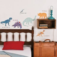Love Mae ♥ Reusable fabric wall decals by LoveMaeStore Boys Wall Stickers, Dinosaur Fabric, Dinosaur Wall Decals, Deco Kids, Red Pillows, Contemporary Wallpaper, Vintage Home Decor, Soft Furnishings, Boy Room