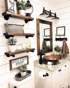 Farmhouse Bathroom Decor And Ideas www. Informations About Farmhouse Bathroom Decor And Ideas Pin You Rustic Bathroom Decor, Bathroom Styling, 1920s Bathroom, Bathroom Storage, Baby Bathroom, Bathroom Mirrors, Bathroom Shelves, White Bathroom, Farm House Bathroom Decor