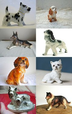 Puppy Love- Small Collectible Porcelain Dog Figurines by Kimberley Greeno on Etsy--Pinned with TreasuryPin.com