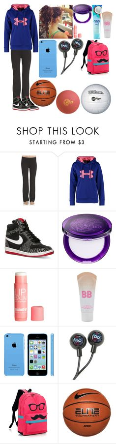"""""""P.E"""" by i-found-wonderland ❤ liked on Polyvore featuring Electric Yoga, Under Armour, NIKE, Urban Decay, H&M and Maybelline"""