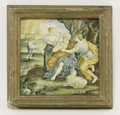 A Castelli tin-glazed earthenware tile, mid 18th century, depicting Jeremiah lamenting the destruction of Jerusalem, in blue, green and ochre, within a brown border, 23.2cm square 2cm approximately deep, in a later frame Sold for £650 on 14th March 2017
