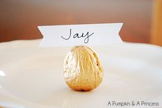Metallic Gilded Walnut Place Card, great for Thanksgiving and Christmas dinners! A Pumpkin  A Princess