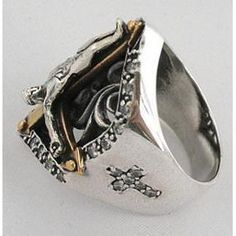 Heavy Metal Series Size 7 17mm Inside Triple Bevel Centered Sculpted Finish Golden Anodized Stainless Steel Ring