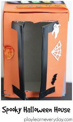Making cute little haunted houses for Halloween using some simple materials and glue dots to stick everything together. Fun Halloween Games, Halloween Decorations For Kids, Halloween Crafts For Kids, Easy Crafts For Kids, Halloween Party Decor, Halloween House, Spooky Halloween, Toddler Crafts, Creative Arts And Crafts