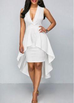 AdoreWe - unsigned Overlay Embellished V Neck White Sheath Dress - AdoreWe.com