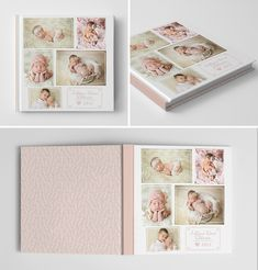 Newborn Girl Album Book Cover Template for Photographers #photoshop #templates…