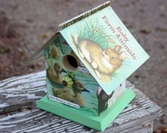 Decorative Birdhouse - Baby Farm Animals - Upcycled Little Golden Book