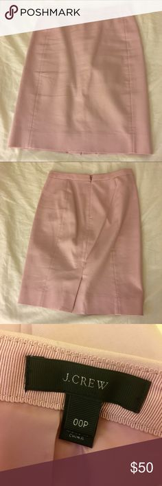 J. Crew No. 2 Pencil Skirt Light pink color, cotton, back zip and vent. Size 00P. From regular J. Crew not outlet. Excellent condition - worn once. J. Crew Skirts Pencil