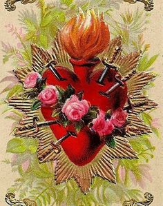 Reveals the occult origins of the heart symbols of St. Valentine's Day, explains the Sacred Heart of Jesus, Immaculate Heart of Mary, Catholic mysticism. Religious Images, Religious Icons, Religious Art, Blessed Mother Mary, Blessed Virgin Mary, Sacred Heart Tattoos, Jesus E Maria, Vintage Holy Cards, Heart Illustration
