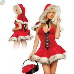 Best Quality Miss Mickey Santa Claus Little Red Riding Hood Sexy Christmas Costume Party Dress Set Adults Women Outfit Lingerie(China (Mainland)) White Christmas Dress, Christmas Dresses, Christmas Lingerie, Red Riding Hood Costume, Lace Up Skirt, Mini Skirt, Waist Skirt, Christmas Costumes, Halloween Christmas