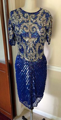 GORGEOUS 1980s Vintage Blue Silver Sequins Beaded 1920s-Inspired Flapper Great Gatsby Dress on Etsy, $95.00