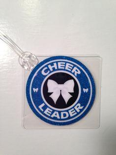 Blue Cheer Bow Bag Tag Cheerleading Bag Tag by Toddletags on Etsy, $5.95