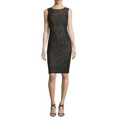 Rene Ruiz Sleeveless Lace Swirl Dress (1,560 MYR) ❤ liked on Polyvore featuring dresses, black, boat neck dress, sleeveless sheath dress, sleeveless boatneck dress, lacy dress and lace dress