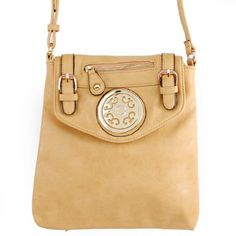 """Click Here and Buy it On Amazon.com $29.99 Amazon.com: New Arrival """"Designer Inspired"""" Unique Zipper and Buckle Detailed Solid Messanger Bag / Crossbody Bag in Tan Beige: Clothing"""