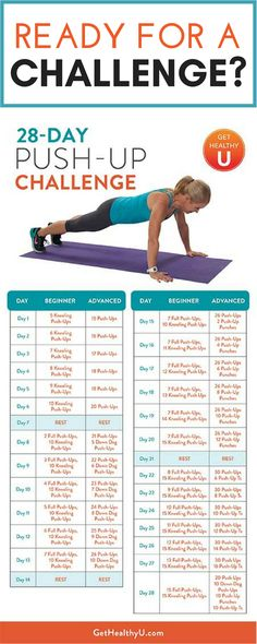 Looking for a challenge? Join the Get Healthy U 28-day push up challenge! Push yourself, strengthen your body and accomplish something HUGE with 28-days of push ups! Download the PDF calendar and follow along for 4 weeks of at-home challenging your own fitness!