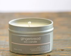 Gingerbread Soy Candle Tin 4 oz. - spicy vanilla gingerbread scented soy candle