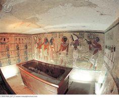 Interior View of King Tutankhamun's Tomb and Wall Paintings in Tomb of Tutankhamun