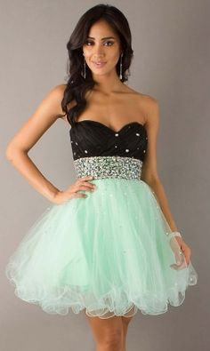 Short Sweet A-line Tulle sweet sixteen Dress with Diamond Ornament