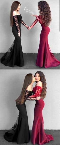 Off-the-Shoulder Long Sleeves Black Prom Dress with Lace Elegant long sleeve mermaid prom dress,simple off the shoulder formal evening gowns for women,bridesmaids dress Prom Dresses 2018, Mermaid Prom Dresses, Cheap Prom Dresses, Trendy Dresses, Formal Dresses, Dress Prom, Long Dresses, Prom Dresses Lace Sleeves, Lace Dress With Sleeves