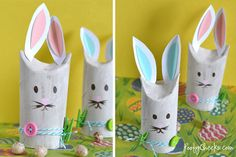 Toilet Paper Roll Bunnies - a cute adult or kid craft for Spring and Easter Bunny Crafts, Easter Crafts For Kids, Craft Activities For Kids, Christmas Crafts For Kids, Craft Kids, Kids Fun, Toilet Paper Roll Art, Spring Theme, Baby Sprinkle