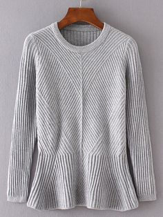 Grey Ruffle Hem Ribbed Sweater -SheIn(Sheinside)