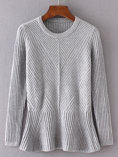 Grey Ruffle Hem Ribbed Sweater -SheIn(Sheinside)