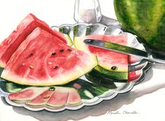 Still Lifes by Marsha Chandler Watercolor Fruit, Watercolor And Ink, Watercolor Paintings, Watercolours, Art Paintings, Still Life Fruit, Painting Still Life, Food Drawing, Art Challenge