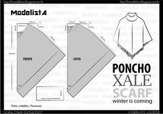 ModelistA Poncho Pattern Sewing, Cloak Pattern, Pattern Drafting, Dress Sewing Patterns, Clothing Patterns, Diy Clothing, Sewing Clothes, Fashion Sewing, Diy Fashion