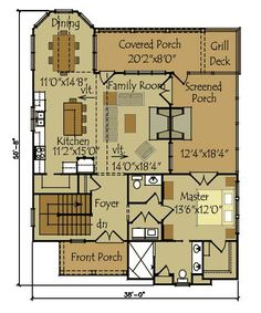 small cottage floor plan i like the kitchen dining area and foyer - Small Cottage House Plans