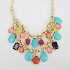 """As seen on ShopDesignSpark.com  Two layers of spring flavor.    -metal, various faceted beads  -approx 18"""", adjustable link  -imported"""