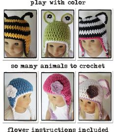 Doll Tag Clothing Crochet Pattern - make animal beanies for dolls! Cute!