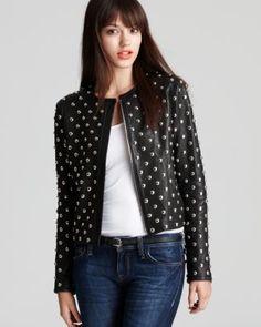 DIANE von FURSTENBERG Jacket - Kate Studded Leather | Bloomingdale's