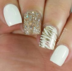 35 Elegant and Amazing White and Gold Nail Art Designs - Styletic Gold Glitter Nail Polish, Gold Nail Art, Nail Polish Art, Gold Nails, My Nails, Super Cute Nails, Great Nails, Fabulous Nails, Gorgeous Nails
