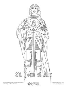 St Joan of Arc -   Free Hand-Drawn Catholic Coloring Pictures
