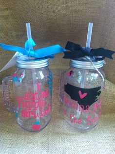 Personalized Mason Jar Tumblers ~ Aint No Yuppie Girl OR Carolina Girls Are The Best on Etsy, $13.00