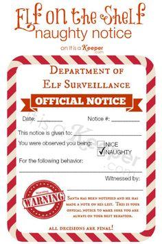Free printable Elf on a Shelf Naughty & Nice Notices