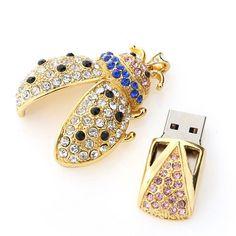 1fa5e13ff21469 Gold Crystal Ladybird Model 4-32GB USB 2.0 Enough Memory Stick Flash pen  Drive