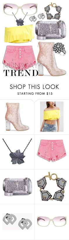 """""""City Walker Rose Quartz And Yellow"""" by bvn01 ❤ liked on Polyvore featuring ASOS, Yves Saint Laurent, Marc by Marc Jacobs, Dsquared2, Dolce&Gabbana and LE VIAN"""